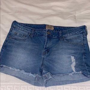 Light washed jean shorts